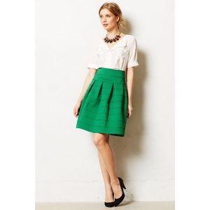 🌿Anthropologie Green Structured Skirt